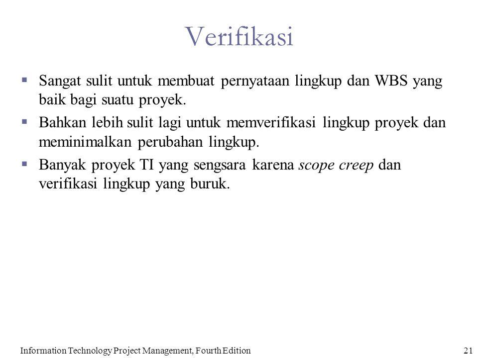 21Information Technology Project Management, Fourth Edition Verifikasi  Sangat sulit untuk membuat pernyataan lingkup dan WBS yang baik bagi suatu pr