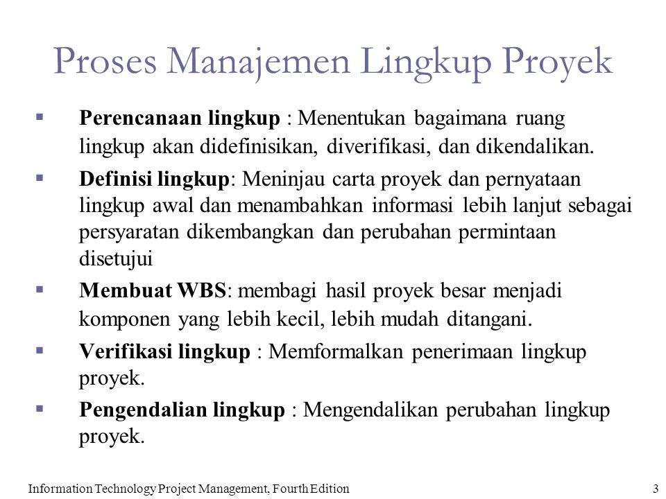 3Information Technology Project Management, Fourth Edition Proses Manajemen Lingkup Proyek  Perencanaan lingkup : Menentukan bagaimana ruang lingkup