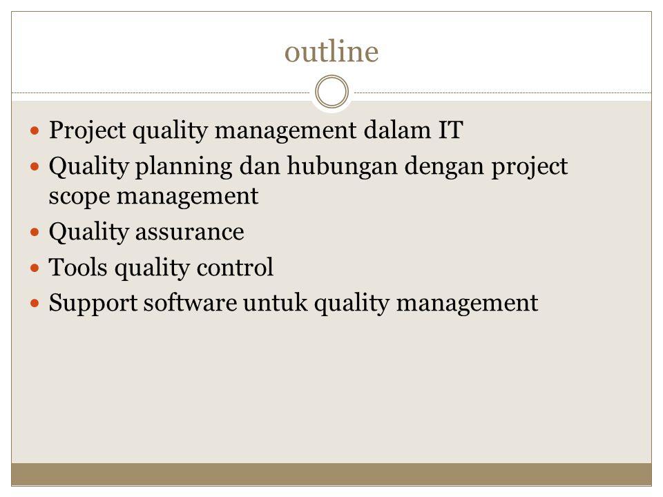 outline Project quality management dalam IT Quality planning dan hubungan dengan project scope management Quality assurance Tools quality control Supp