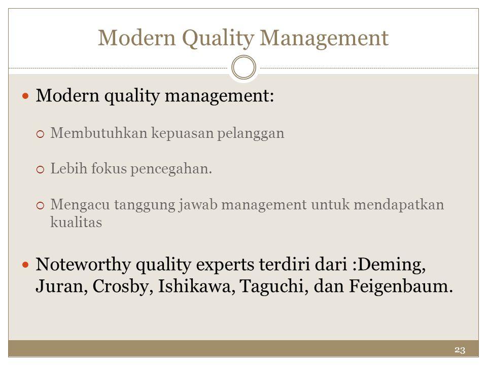 23 Modern Quality Management Modern quality management:  Membutuhkan kepuasan pelanggan  Lebih fokus pencegahan.  Mengacu tanggung jawab management