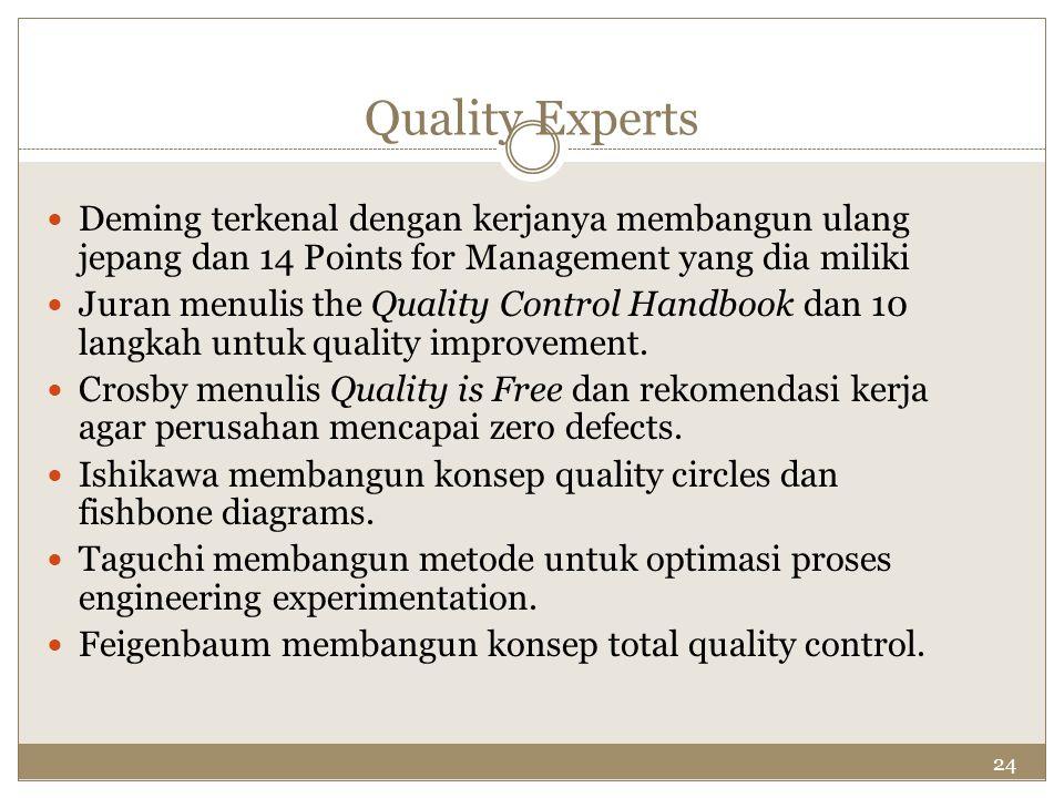 24 Quality Experts Deming terkenal dengan kerjanya membangun ulang jepang dan 14 Points for Management yang dia miliki Juran menulis the Quality Contr