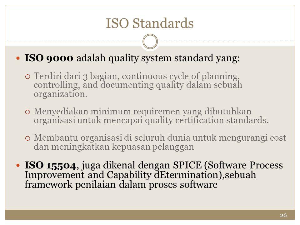 26 ISO Standards ISO 9000 adalah quality system standard yang:  Terdiri dari 3 bagian, continuous cycle of planning, controlling, and documenting qua