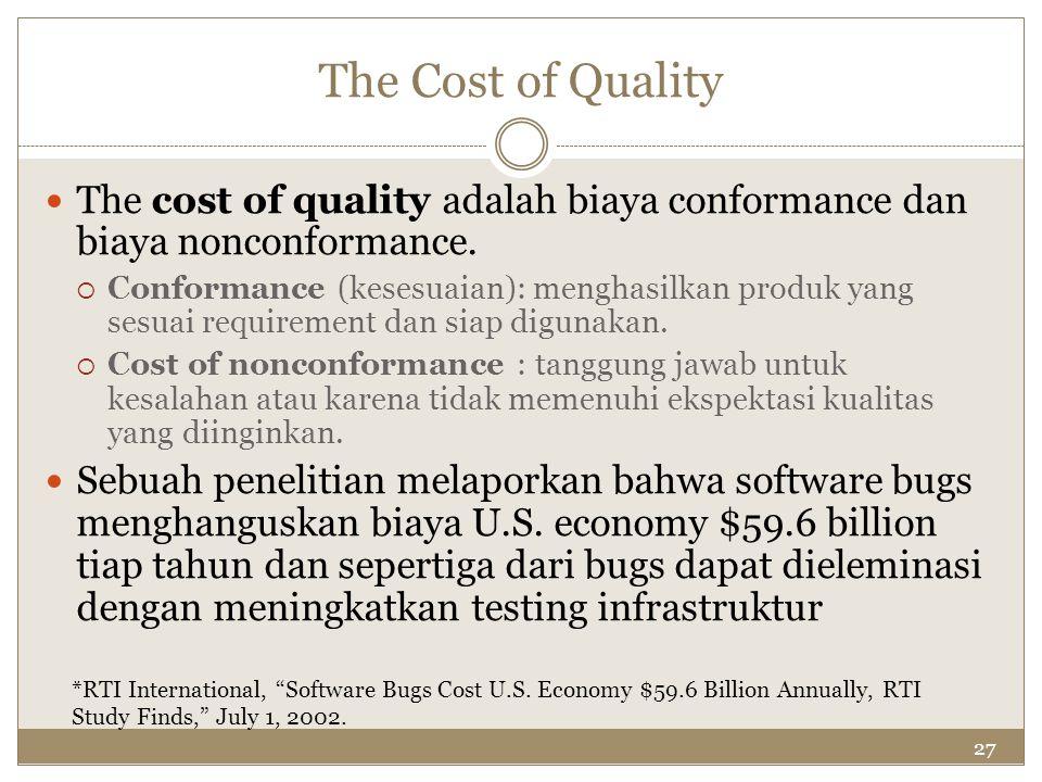27 The Cost of Quality The cost of quality adalah biaya conformance dan biaya nonconformance.  Conformance (kesesuaian): menghasilkan produk yang ses
