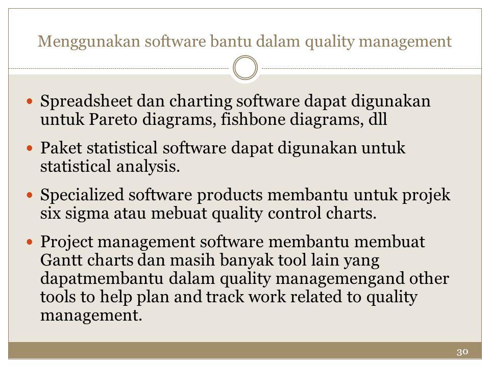 30 Menggunakan software bantu dalam quality management Spreadsheet dan charting software dapat digunakan untuk Pareto diagrams, fishbone diagrams, dll