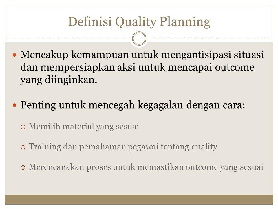 Definisi Quality Planning Mencakup kemampuan untuk mengantisipasi situasi dan mempersiapkan aksi untuk mencapai outcome yang diinginkan. Penting untuk