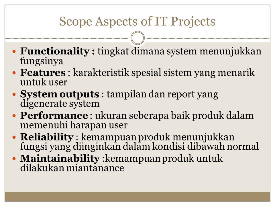 Scope Aspects of IT Projects Functionality : tingkat dimana system menunjukkan fungsinya Features : karakteristik spesial sistem yang menarik untuk us