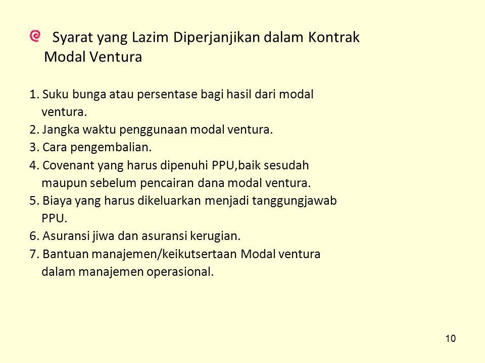 Syarat yang Lazim Diperjanjikan dalam Kontrak Modal Ventura 1. Suku bunga atau persentase bagi hasil dari modal ventura. 2. Jangka waktu penggunaan mo