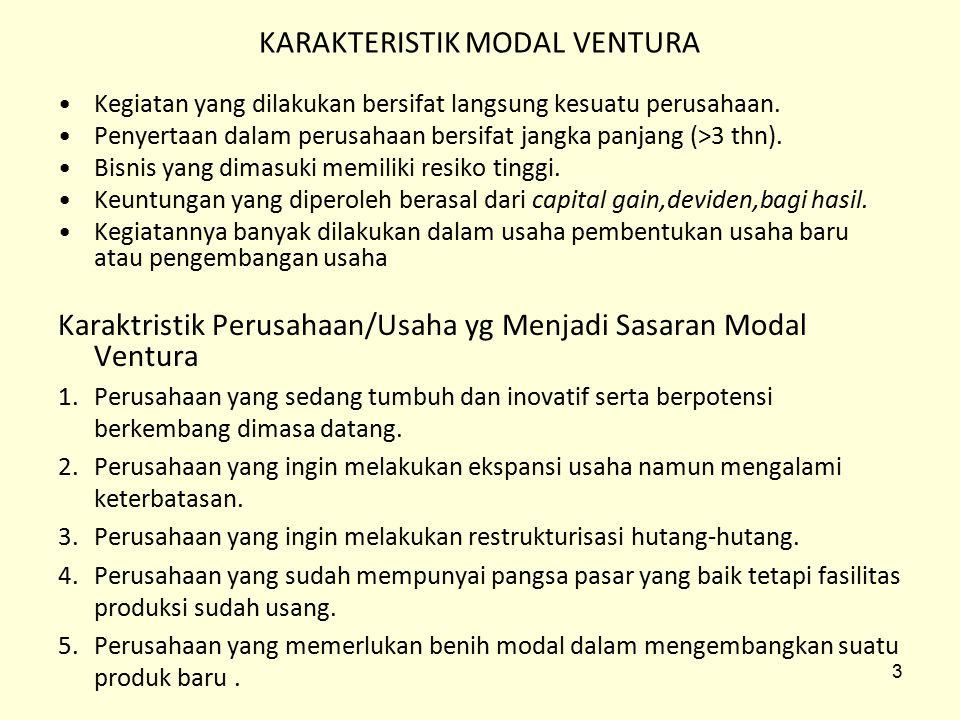 Mekanisme Modal Ventura 1.Single Tier Approach Perusahaan modal ventura menghimpun dana dan mengelola dana yang diinvestasikan dalam bentuk penyertaan modal pada perusahaan pasangan usaha.