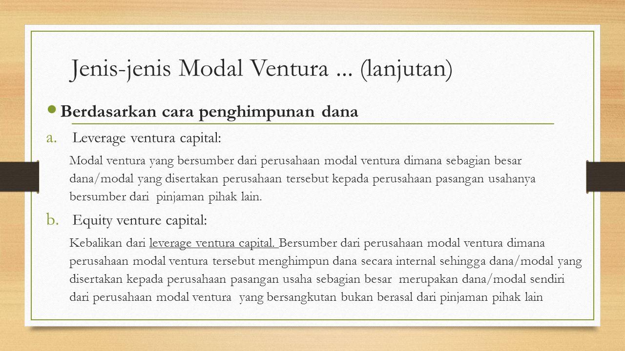 Jenis-jenis Modal Ventura...(lanjutan) Berdasarkan cara penghimpunan dana a.