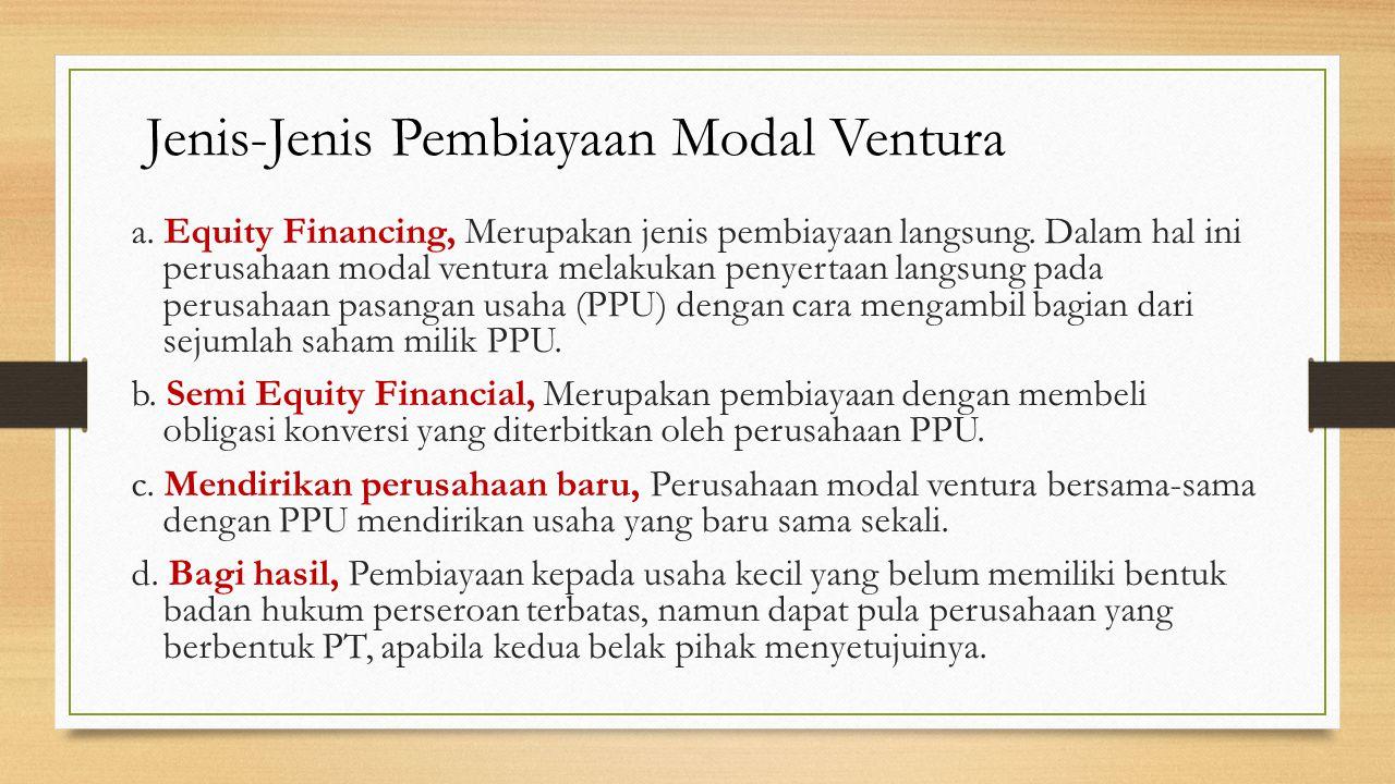 8 Jenis-Jenis Pembiayaan Modal Ventura a.Equity Financing, Merupakan jenis pembiayaan langsung.