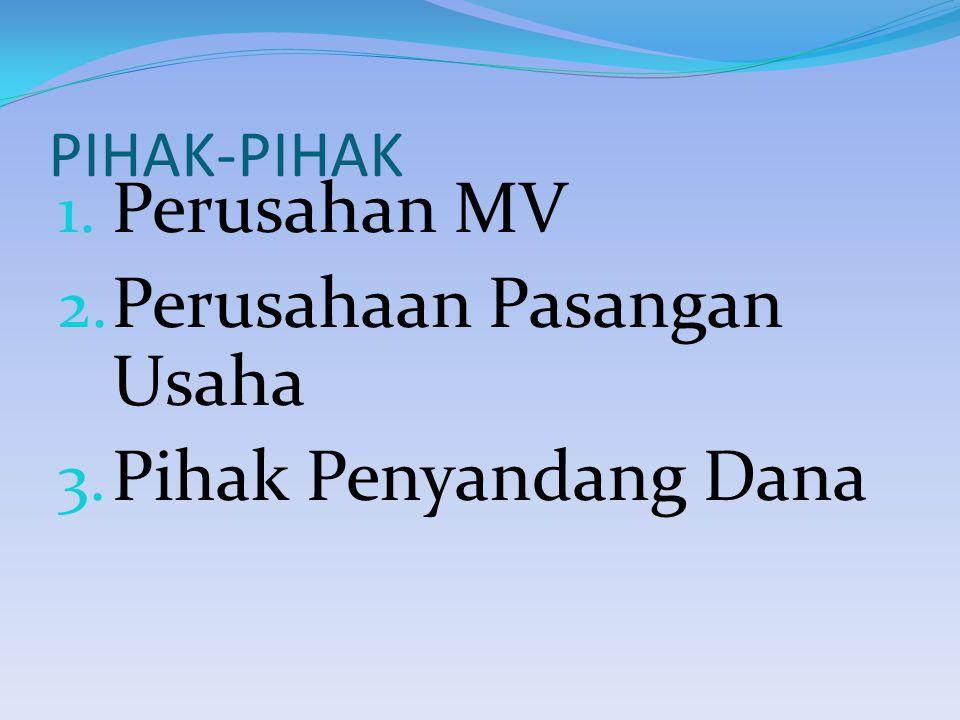 PIHAK-PIHAK 1. Perusahan MV 2. Perusahaan Pasangan Usaha 3. Pihak Penyandang Dana