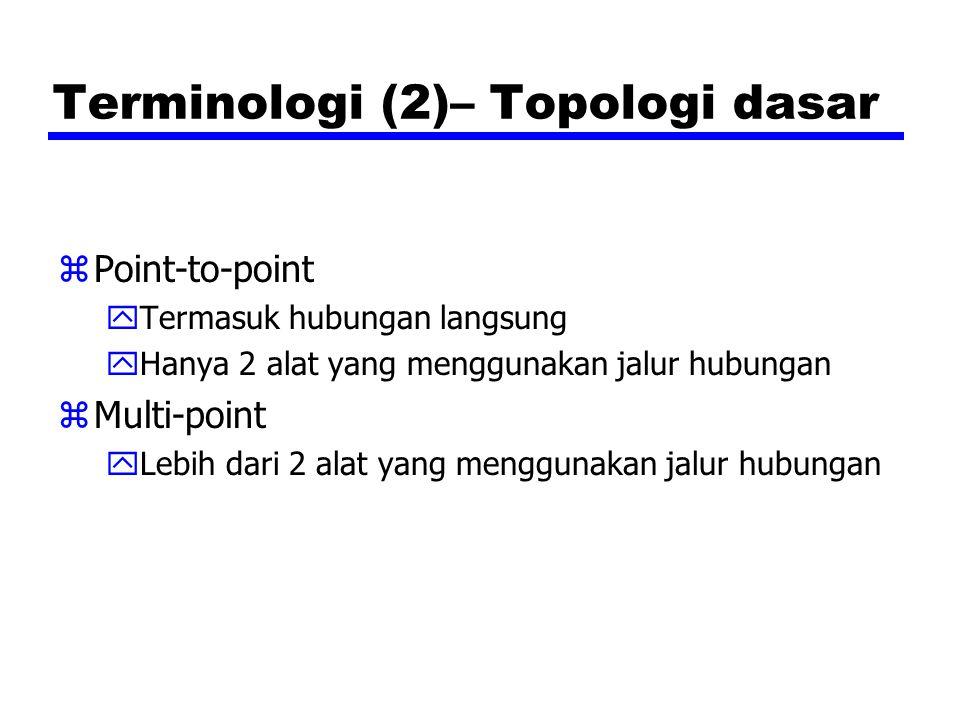 Terminologi (2)– Topologi dasar zPoint-to-point yTermasuk hubungan langsung yHanya 2 alat yang menggunakan jalur hubungan zMulti-point yLebih dari 2 alat yang menggunakan jalur hubungan