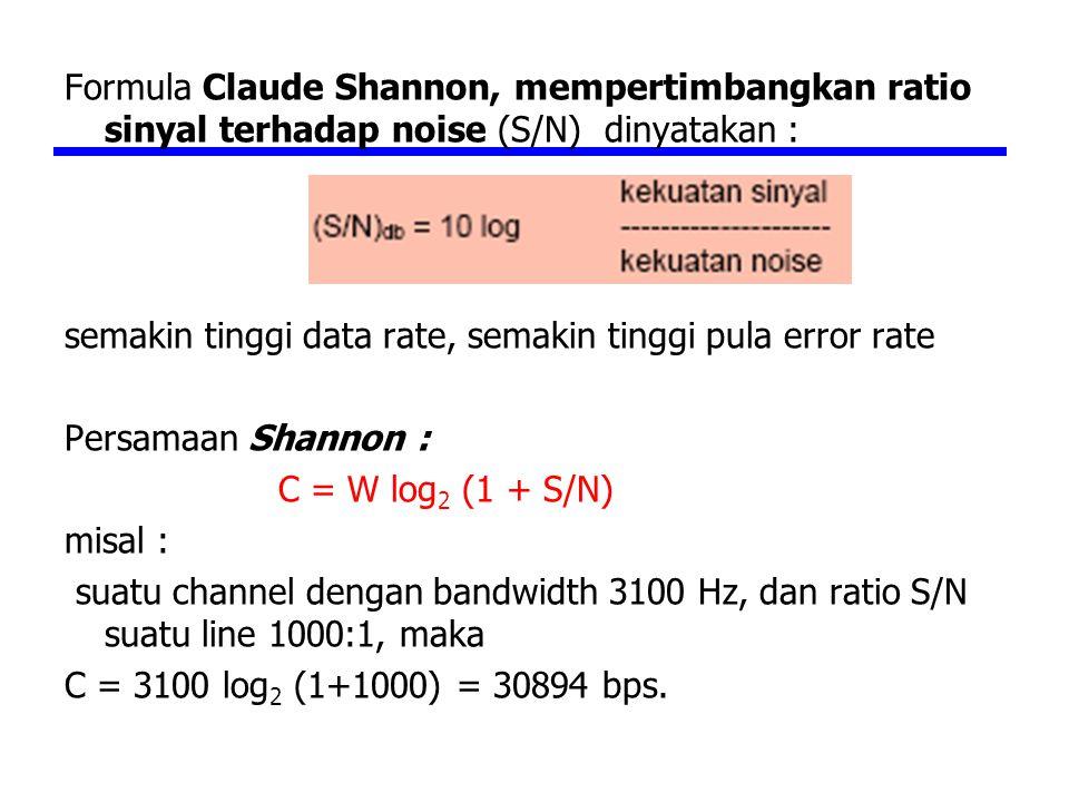 Formula Claude Shannon, mempertimbangkan ratio sinyal terhadap noise (S/N) dinyatakan : semakin tinggi data rate, semakin tinggi pula error rate Persamaan Shannon : C = W log 2 (1 + S/N) misal : suatu channel dengan bandwidth 3100 Hz, dan ratio S/N suatu line 1000:1, maka C = 3100 log 2 (1+1000) = 30894 bps.