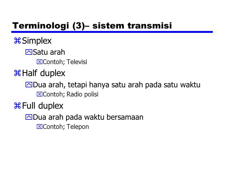 Terminologi (3)– sistem transmisi zSimplex ySatu arah xContoh; Televisi zHalf duplex yDua arah, tetapi hanya satu arah pada satu waktu xContoh; Radio