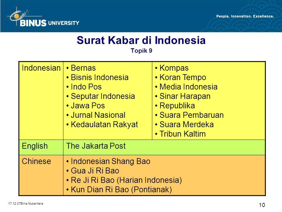 17.12.07Bina Nusantara 10 Surat Kabar di Indonesia Topik 9 Indonesian Bernas Bisnis Indonesia Indo Pos Seputar Indonesia Jawa Pos Jurnal Nasional Keda
