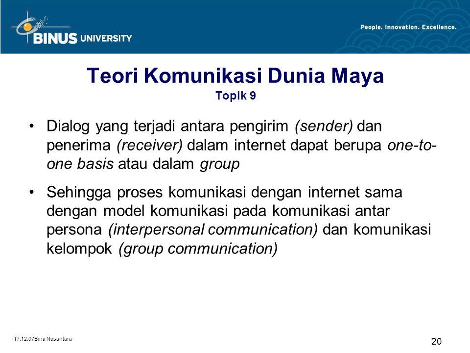 17.12.07Bina Nusantara 20 Teori Komunikasi Dunia Maya Topik 9 Dialog yang terjadi antara pengirim (sender) dan penerima (receiver) dalam internet dapa