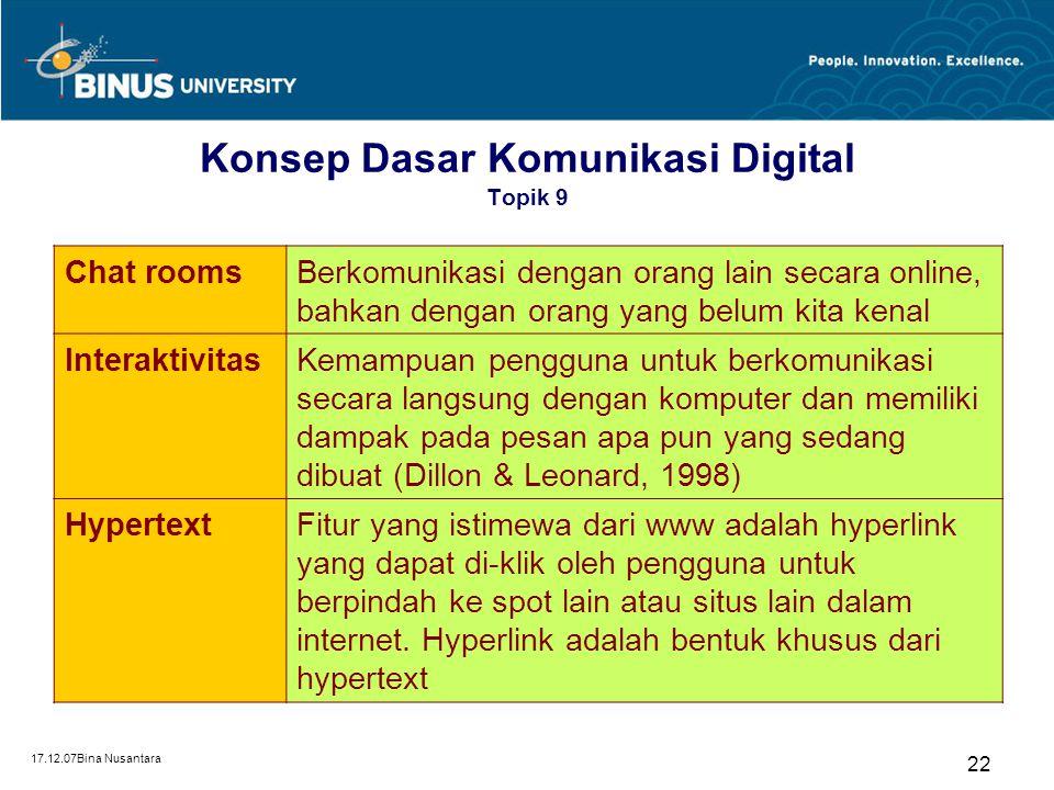 17.12.07Bina Nusantara 22 Konsep Dasar Komunikasi Digital Topik 9 Chat roomsBerkomunikasi dengan orang lain secara online, bahkan dengan orang yang be