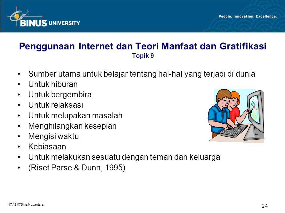 17.12.07Bina Nusantara 24 Penggunaan Internet dan Teori Manfaat dan Gratifikasi Topik 9 Sumber utama untuk belajar tentang hal-hal yang terjadi di dun