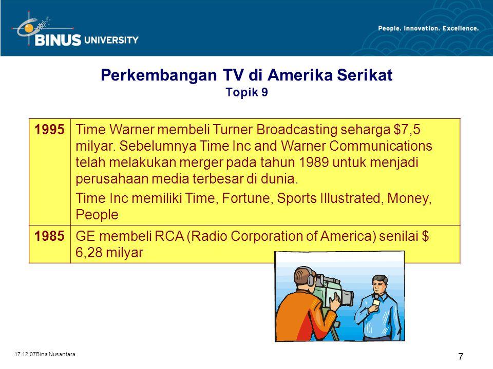 17.12.07Bina Nusantara 7 Perkembangan TV di Amerika Serikat Topik 9 1995Time Warner membeli Turner Broadcasting seharga $7,5 milyar. Sebelumnya Time I