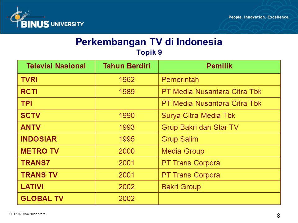 17.12.07Bina Nusantara 8 Perkembangan TV di Indonesia Topik 9 Televisi NasionalTahun BerdiriPemilik TVRI1962Pemerintah RCTI1989PT Media Nusantara Citr