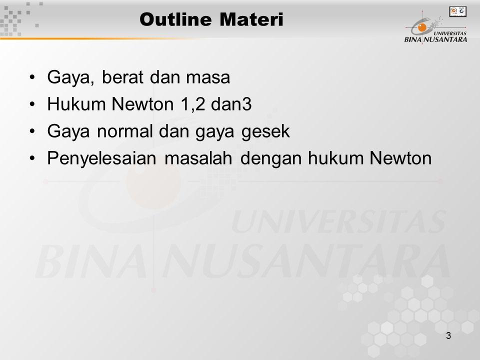 3 Outline Materi Gaya, berat dan masa Hukum Newton 1,2 dan3 Gaya normal dan gaya gesek Penyelesaian masalah dengan hukum Newton
