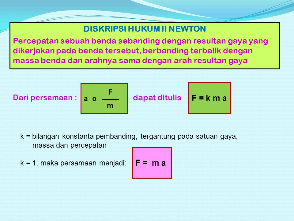 DISKRIPSI HUKUM II NEWTON Percepatan sebuah benda sebanding dengan resultan gaya yang dikerjakan pada benda tersebut, berbanding terbalik dengan massa benda dan arahnya sama dengan arah resultan gaya a α F m Dari persamaan : dapat ditulis F = k m a k = bilangan konstanta pembanding, tergantung pada satuan gaya, massa dan percepatan k = 1, maka persamaan menjadi: F = m a