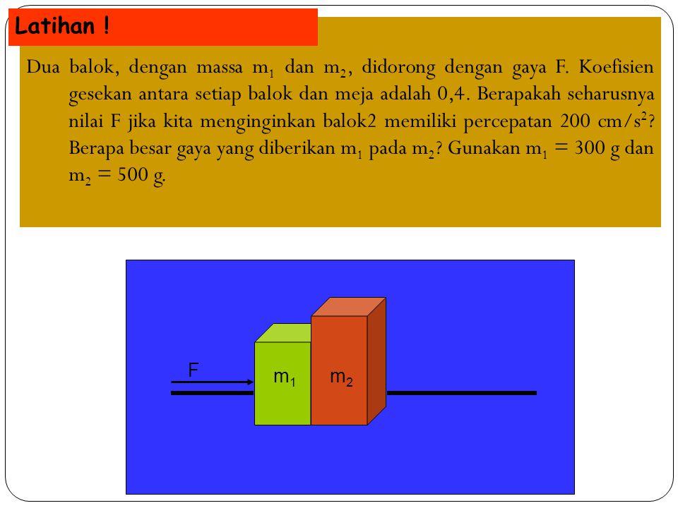Dua balok, dengan massa m 1 dan m 2, didorong dengan gaya F. Koefisien gesekan antara setiap balok dan meja adalah 0,4. Berapakah seharusnya nilai F j