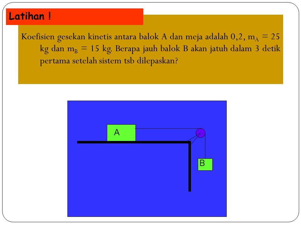Koefisien gesekan kinetis antara balok A dan meja adalah 0,2, m A = 25 kg dan m B = 15 kg. Berapa jauh balok B akan jatuh dalam 3 detik pertama setela