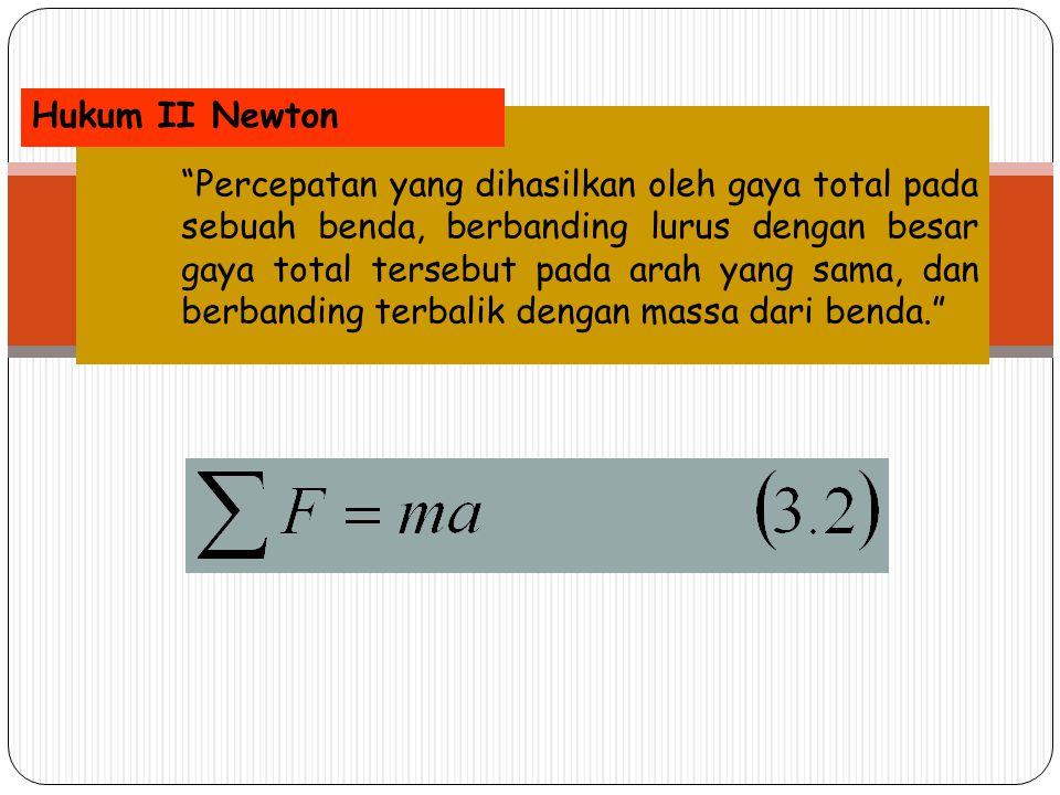 """""""Percepatan yang dihasilkan oleh gaya total pada sebuah benda, berbanding lurus dengan besar gaya total tersebut pada arah yang sama, dan berbanding t"""