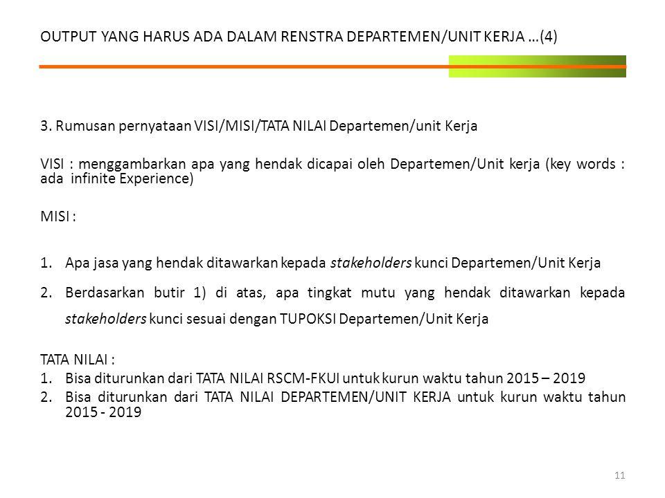 3. Rumusan pernyataan VISI/MISI/TATA NILAI Departemen/unit Kerja VISI : menggambarkan apa yang hendak dicapai oleh Departemen/Unit kerja (key words :