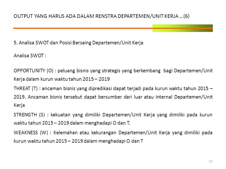5. Analisa SWOT dan Posisi Bersaing Departemen/Unit Kerja Analisa SWOT : OPPORTUNITY (O) : peluang bisnis yang strategis yang berkembang bagi Departem