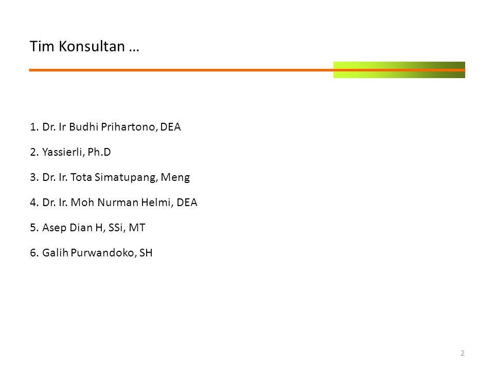 Tim Konsultan … 1. Dr. Ir Budhi Prihartono, DEA 2. Yassierli, Ph.D 3. Dr. Ir. Tota Simatupang, Meng 4. Dr. Ir. Moh Nurman Helmi, DEA 5. Asep Dian H, S