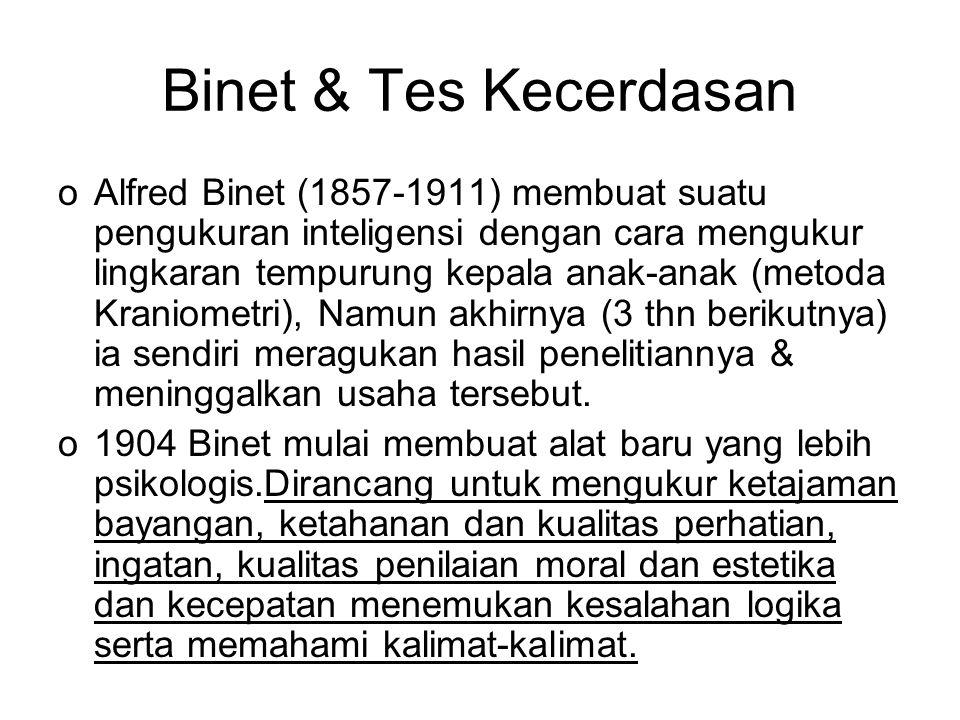 Binet & Tes Kecerdasan oAlfred Binet (1857-1911) membuat suatu pengukuran inteligensi dengan cara mengukur lingkaran tempurung kepala anak-anak (metod