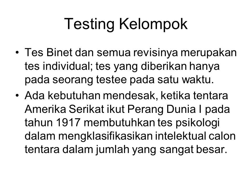Testing Kelompok Tes Binet dan semua revisinya merupakan tes individual; tes yang diberikan hanya pada seorang testee pada satu waktu. Ada kebutuhan m