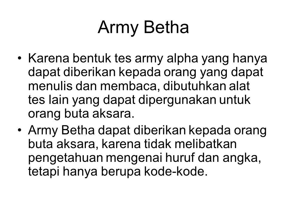 Army Betha Karena bentuk tes army alpha yang hanya dapat diberikan kepada orang yang dapat menulis dan membaca, dibutuhkan alat tes lain yang dapat di