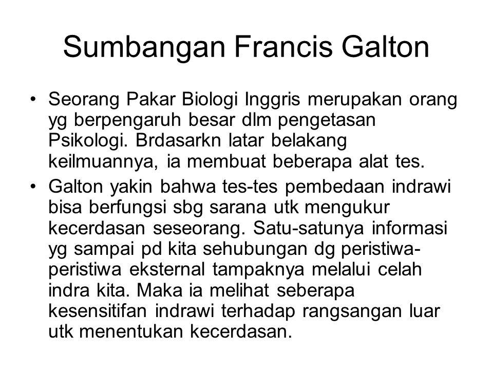 Sumbangan Francis Galton Seorang Pakar Biologi Inggris merupakan orang yg berpengaruh besar dlm pengetasan Psikologi. Brdasarkn latar belakang keilmua