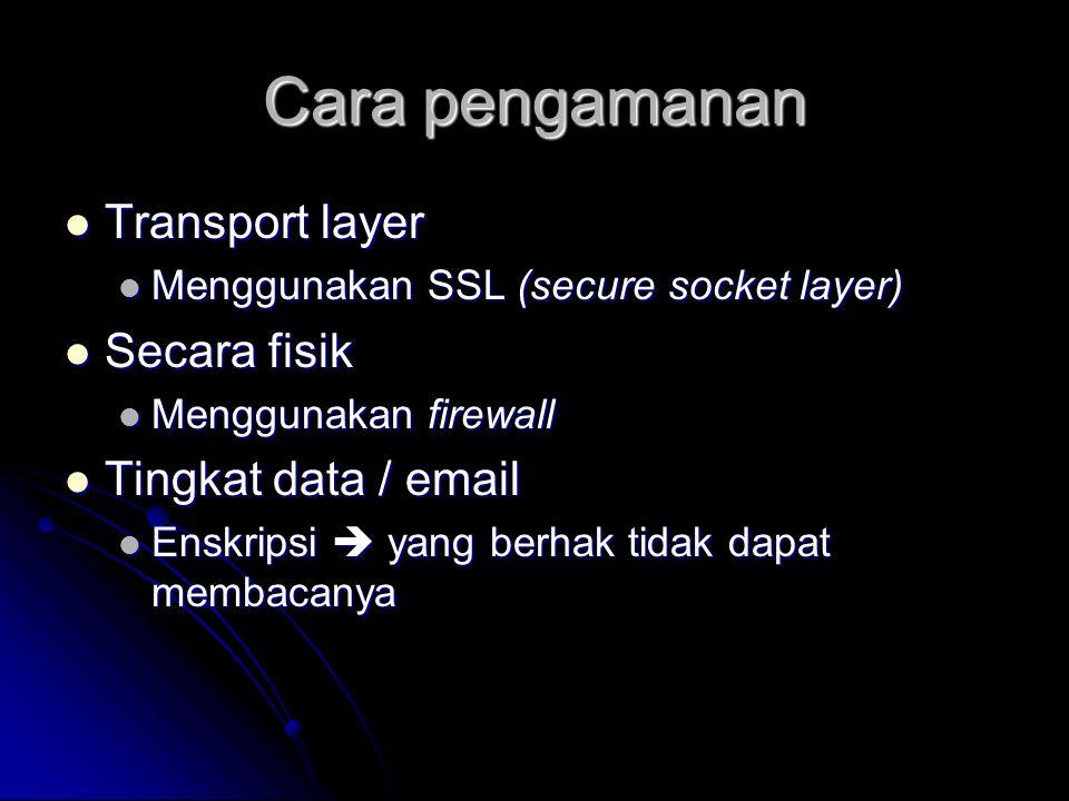 Cara pengamanan Transport layer Transport layer Menggunakan SSL (secure socket layer) Menggunakan SSL (secure socket layer) Secara fisik Secara fisik
