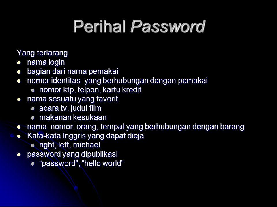 Perihal Password Yang terlarang nama login nama login bagian dari nama pemakai bagian dari nama pemakai nomor identitas yang berhubungan dengan pemaka