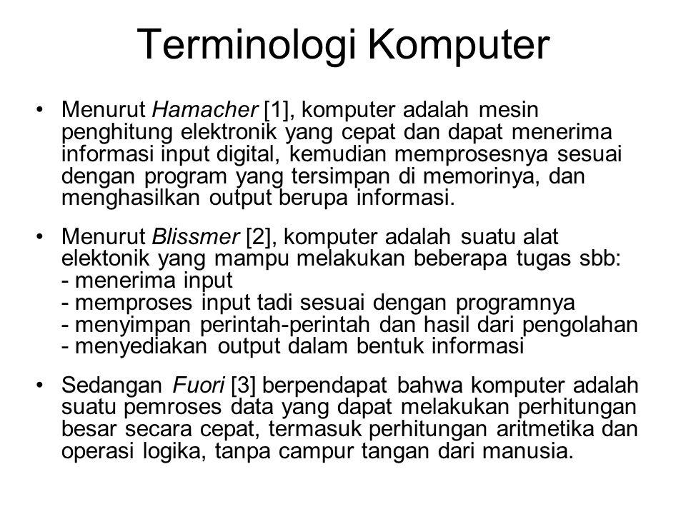 Terminologi Komputer Menurut Hamacher [1], komputer adalah mesin penghitung elektronik yang cepat dan dapat menerima informasi input digital, kemudian memprosesnya sesuai dengan program yang tersimpan di memorinya, dan menghasilkan output berupa informasi.