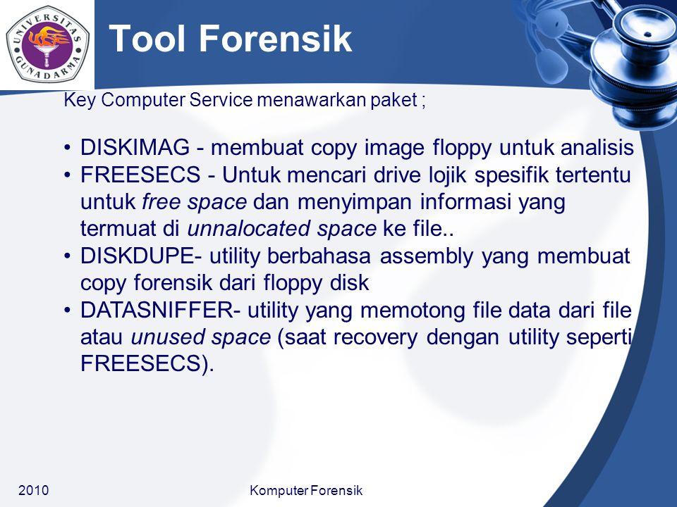 Key Computer Service menawarkan paket ; DISKIMAG - membuat copy image floppy untuk analisis FREESECS - Untuk mencari drive lojik spesifik tertentu unt