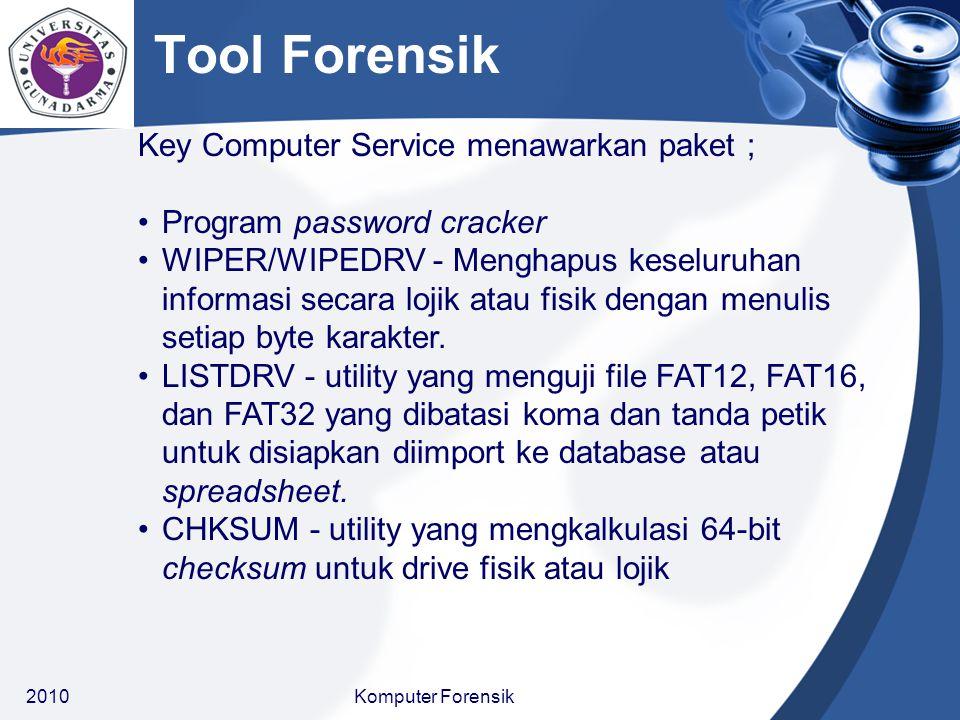 Key Computer Service menawarkan paket ; DISKIMAG - membuat copy image floppy untuk analisis FREESECS - Untuk mencari drive lojik spesifik tertentu untuk free space dan menyimpan informasi yang termuat di unnalocated space ke file..