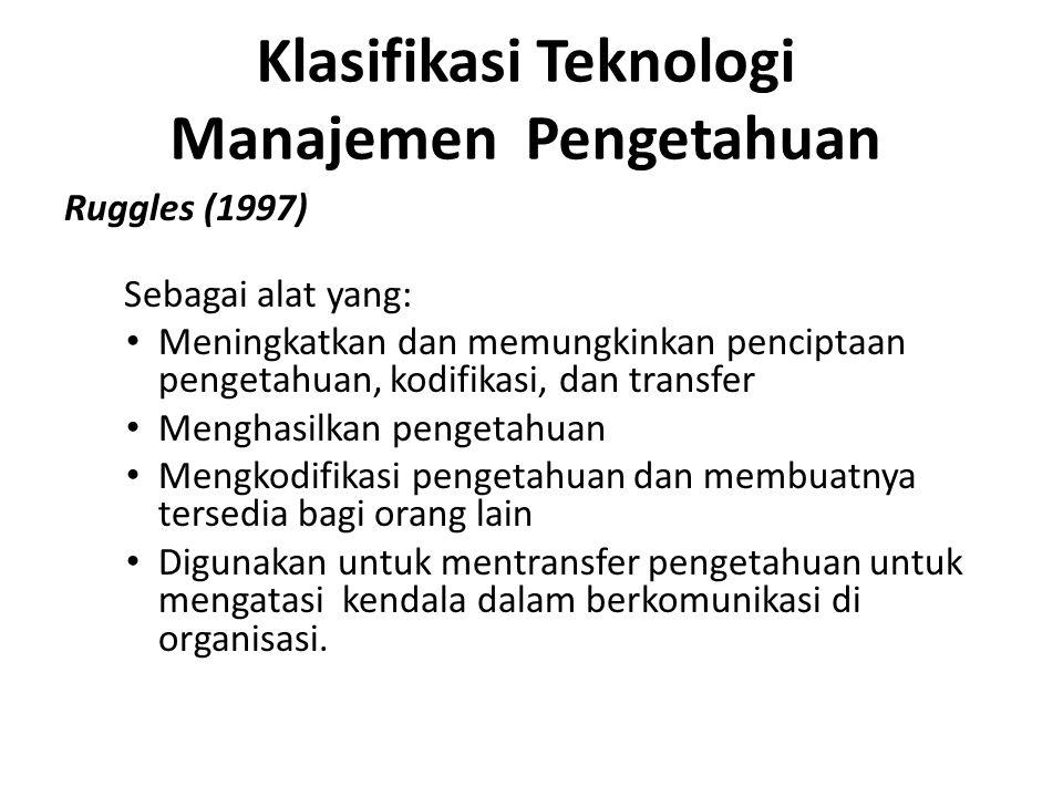 Klasifikasi Teknologi Manajemen Pengetahuan Ruggles (1997) Sebagai alat yang: Meningkatkan dan memungkinkan penciptaan pengetahuan, kodifikasi, dan tr