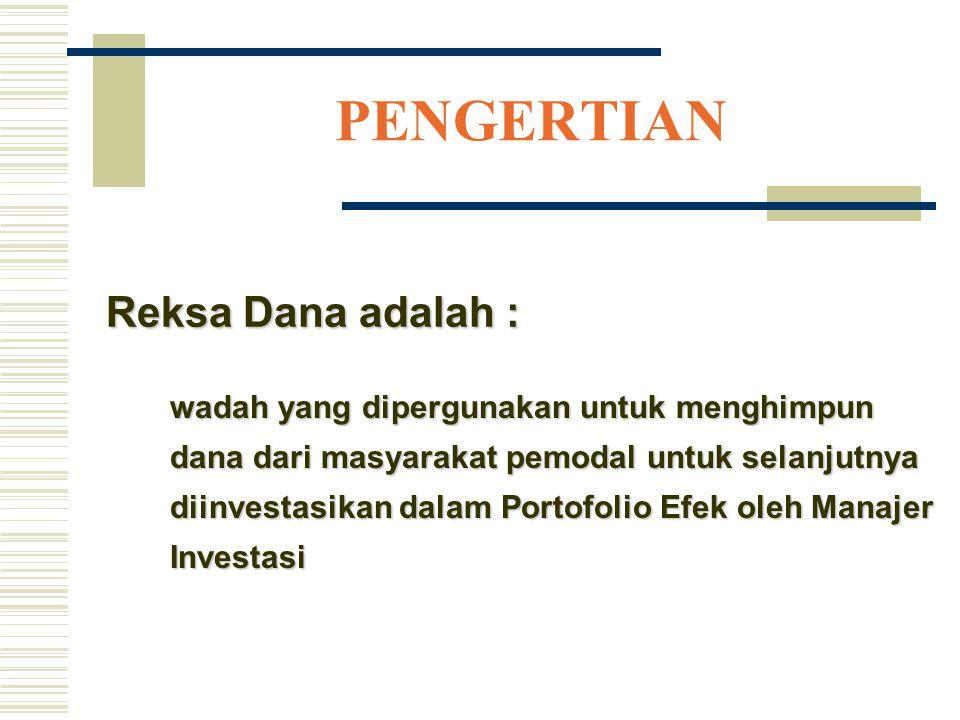 MANFAAT BAGI PEMODAL Dananya dikelola oleh Manajer Investasi secara profesional Resiko investasi kecil Biaya relatif kecil Dapat dijual kembali kepada Manajer Investasi Investor dapat melihat perkembangan dananya, melalui pengumuman Nilai Aktiva Bersih setiap hari kerja di koran