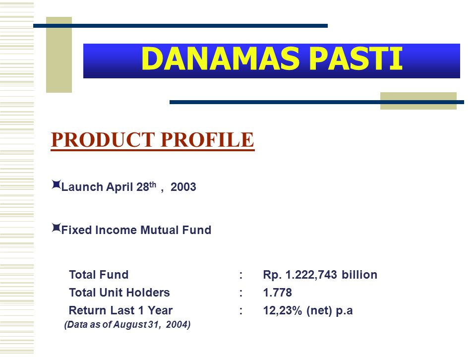  Launch April 28 th, 2003  Fixed Income Mutual Fund Total Fund : Rp. 1.222,743 billion Total Unit Holders : 1.778 Return Last 1 Year : 12,23% (net)