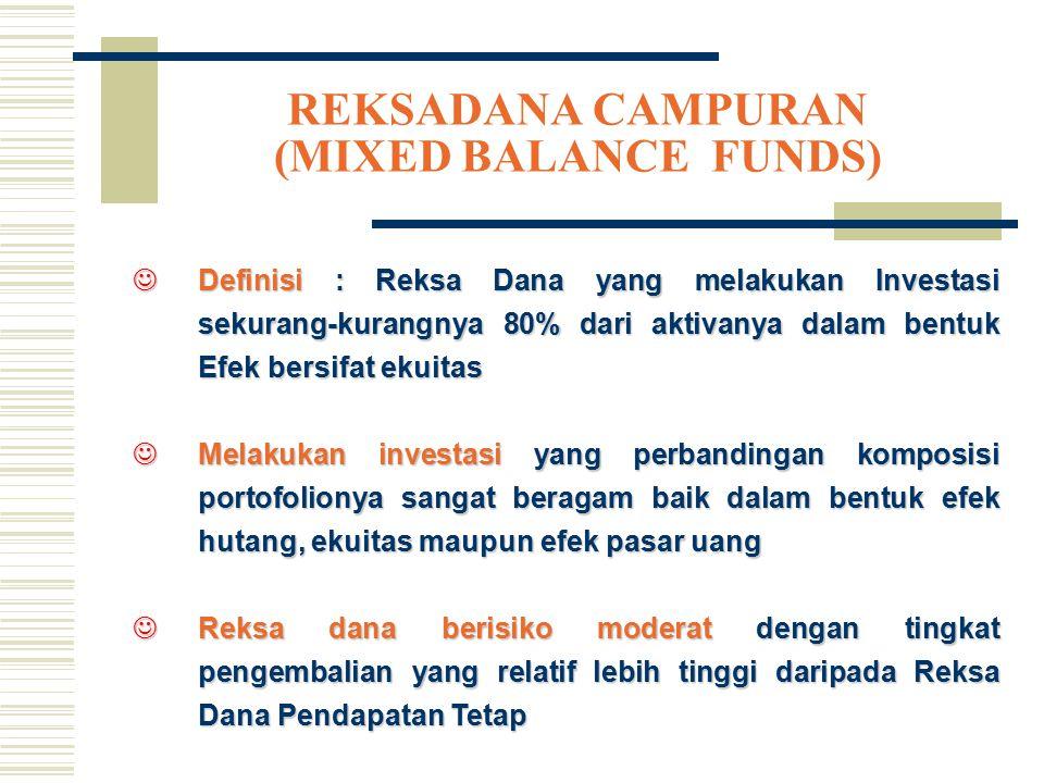 REKSADANA CAMPURAN (MIXED BALANCE FUNDS) JDefinisi : Reksa Dana yang melakukan Investasi sekurang-kurangnya 80% dari aktivanya dalam bentuk Efek bersi