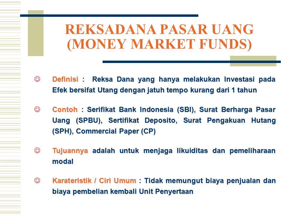 REKSADANA PASAR UANG (MONEY MARKET FUNDS) JDefinisi : Reksa Dana yang hanya melakukan Investasi pada Efek bersifat Utang dengan jatuh tempo kurang dar