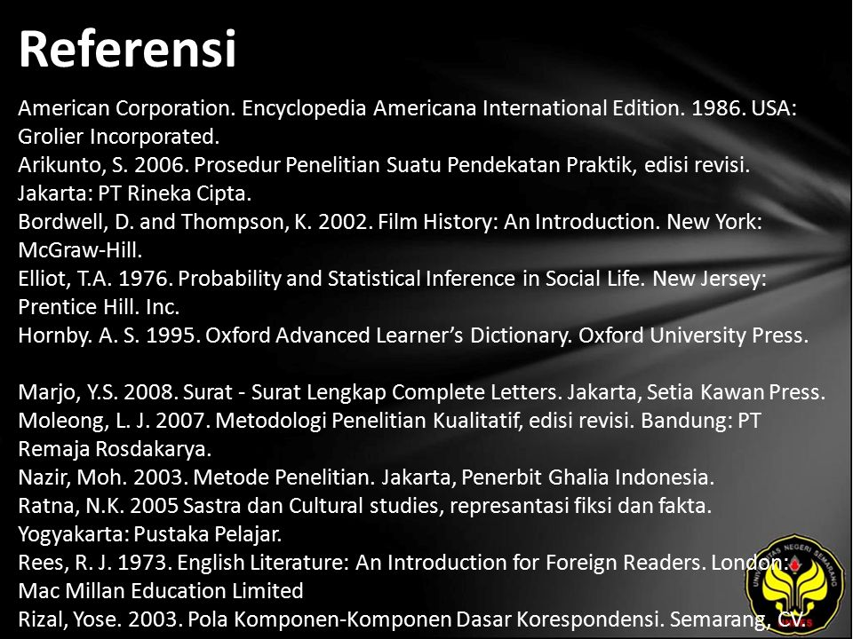 Referensi American Corporation. Encyclopedia Americana International Edition.