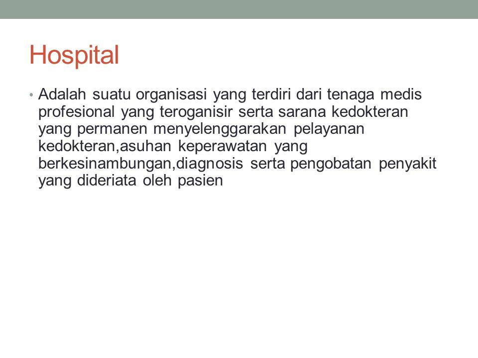 Hospital Adalah suatu organisasi yang terdiri dari tenaga medis profesional yang teroganisir serta sarana kedokteran yang permanen menyelenggarakan pe