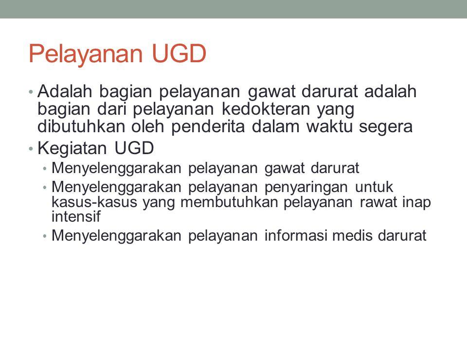 Pelayanan UGD Adalah bagian pelayanan gawat darurat adalah bagian dari pelayanan kedokteran yang dibutuhkan oleh penderita dalam waktu segera Kegiatan
