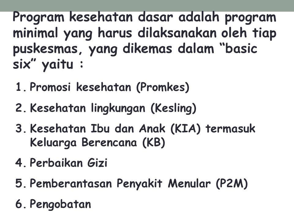 """Program kesehatan dasar adalah program minimal yang harus dilaksanakan oleh tiap puskesmas, yang dikemas dalam """"basic six"""" yaitu : 1.Promosi kesehatan"""